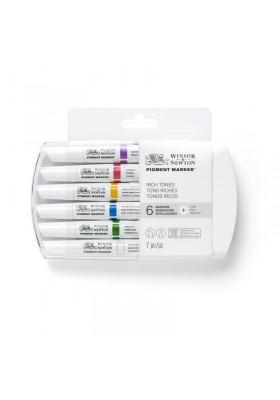 Set x 6 Marcadores Pigment Marker Tonos Ricos