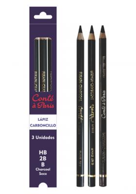 Lápiz carboncillo seco x3 (B-2B-HB) Conte & Paris